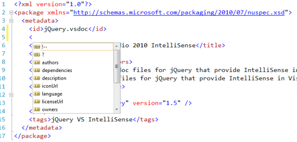 IntelliSense for NuGet nuspec files in Visual Studio 2010